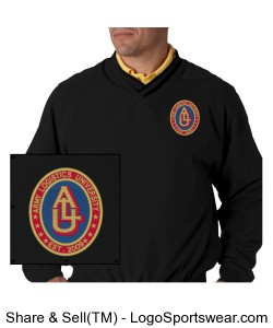 Embroidered Design: Long-sleeve Microfiber Cross-over V-neck Windshirt Design Zoom